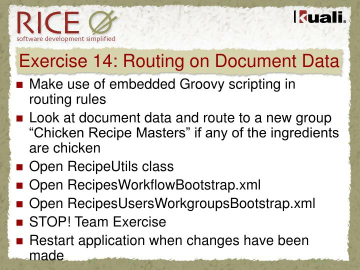 Exercise 14: Routing on Document Data
