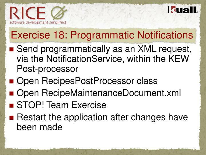 Exercise 18: Programmatic Notifications