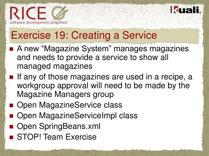 Exercise 19: Creating a Service
