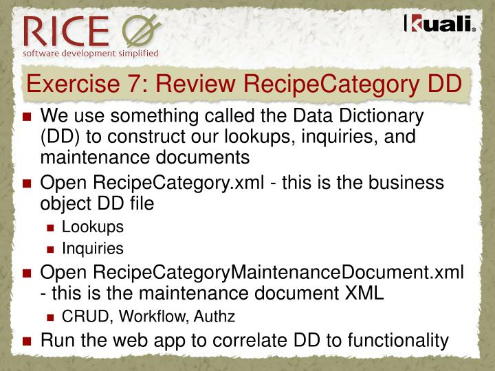 Exercise 7: Review RecipeCategory DD