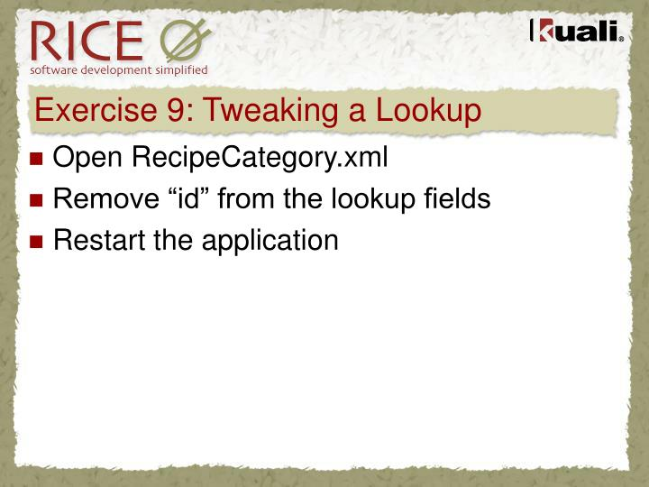 Exercise 9: Tweaking a Lookup