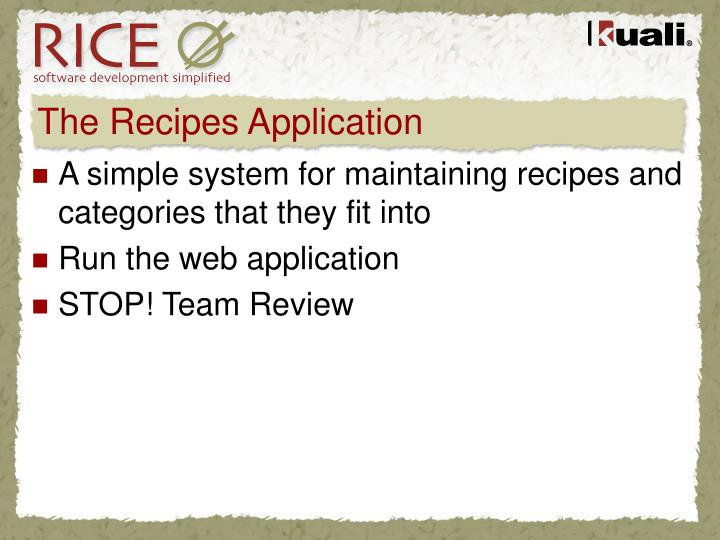 The Recipes Application