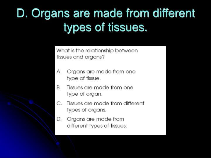 D. Organs are made from different types of tissues.