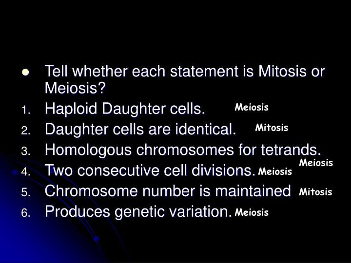 Tell whether each statement is Mitosis or Meiosis?
