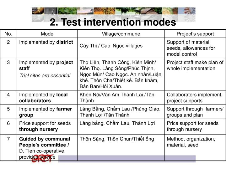 2. Test intervention modes