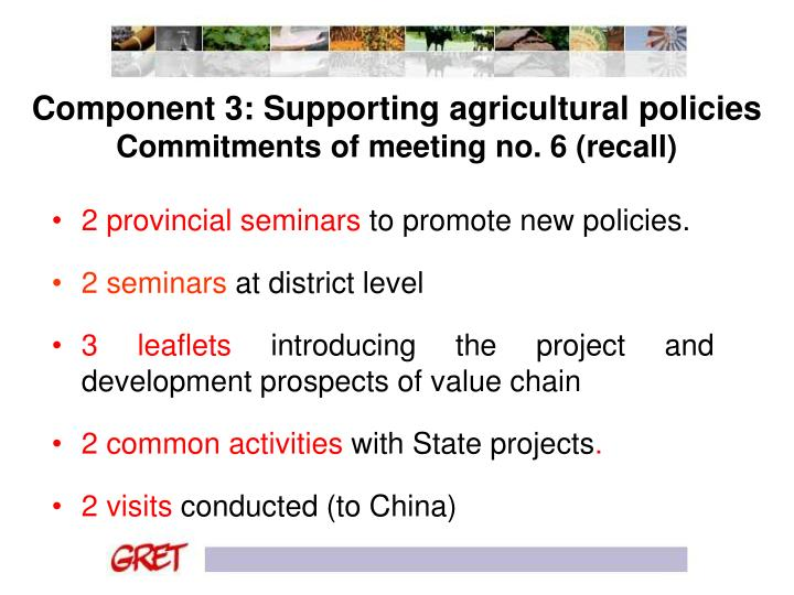 Component 3: Supporting agricultural policies