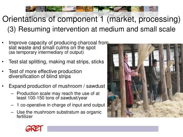 Orientations of component 1 (market, processing)
