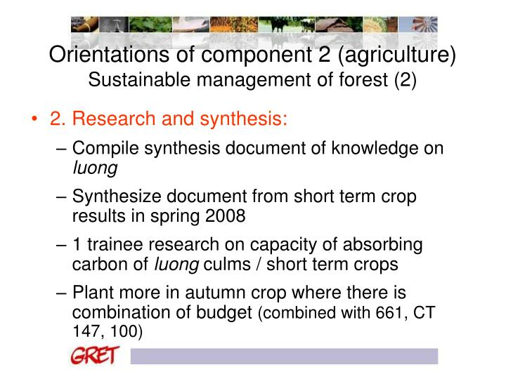 Orientations of component 2 (agriculture)