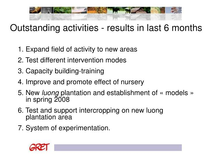 Outstanding activities - results in last 6 months