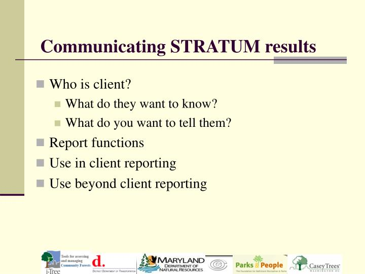 Communicating STRATUM results