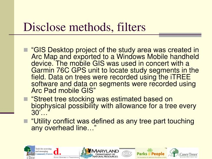 Disclose methods, filters