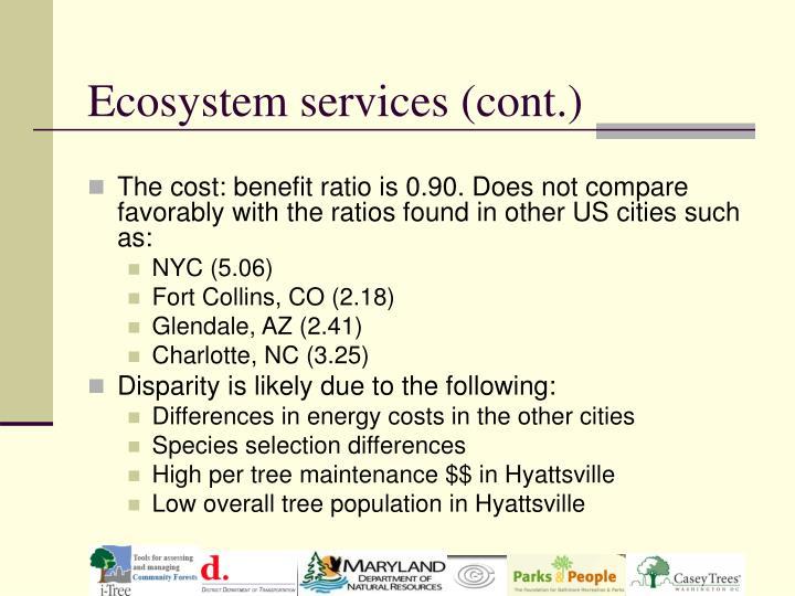 Ecosystem services (cont.)