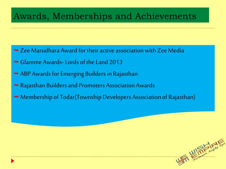 Awards, Memberships and Achievements