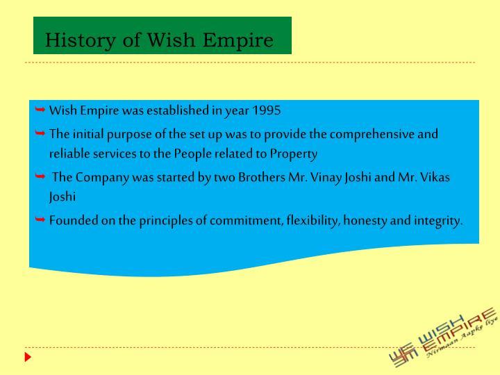 History of Wish Empire