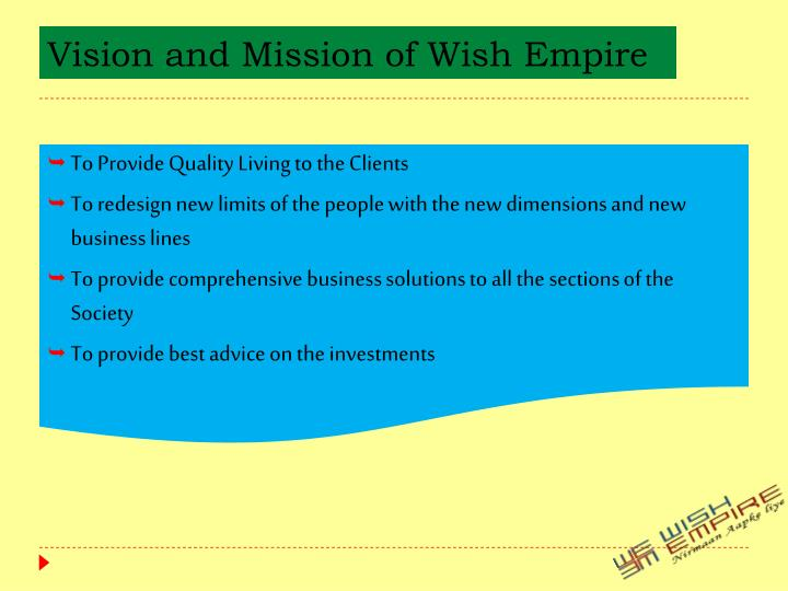 Vision and mission of wish empire