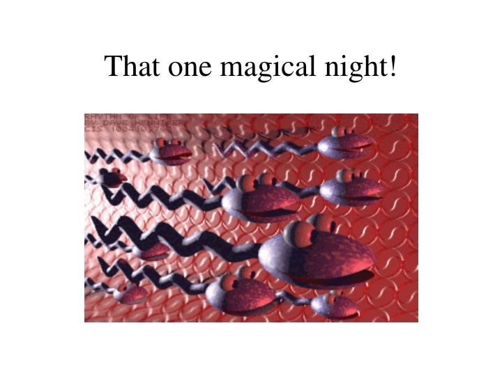 That one magical night!