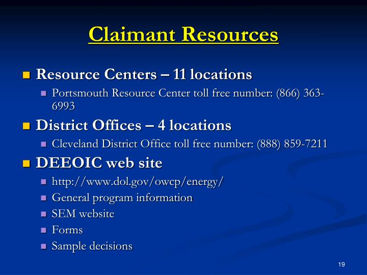 Claimant Resources