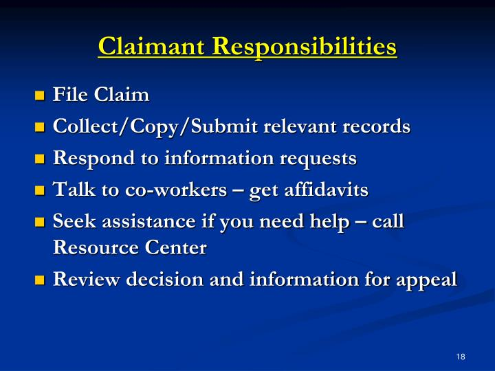 Claimant Responsibilities
