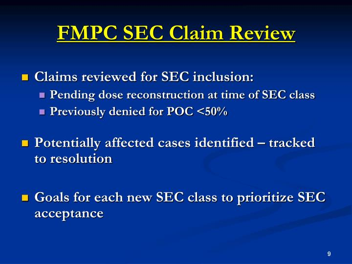 FMPC SEC Claim Review