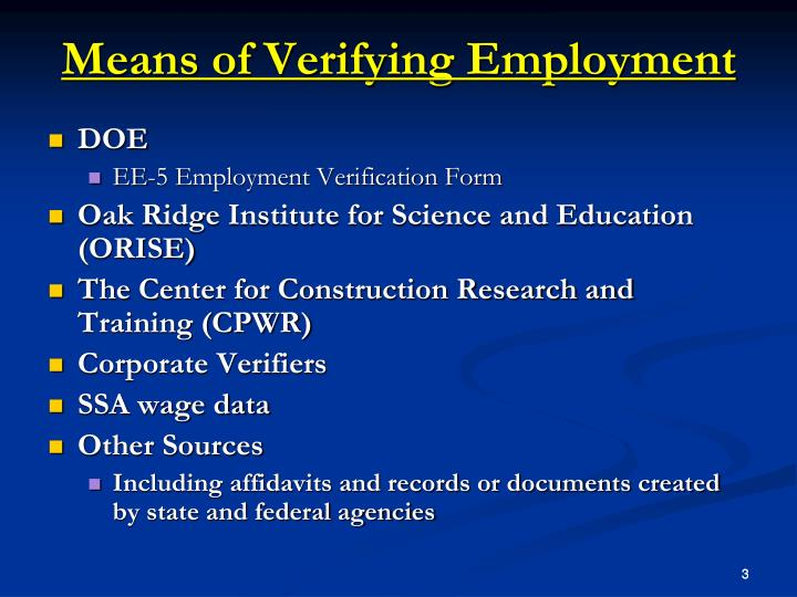 Means of Verifying Employment