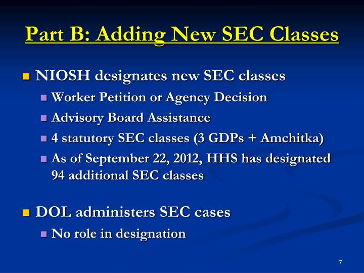 Part B: Adding New SEC Classes