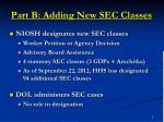 part b adding new sec classes