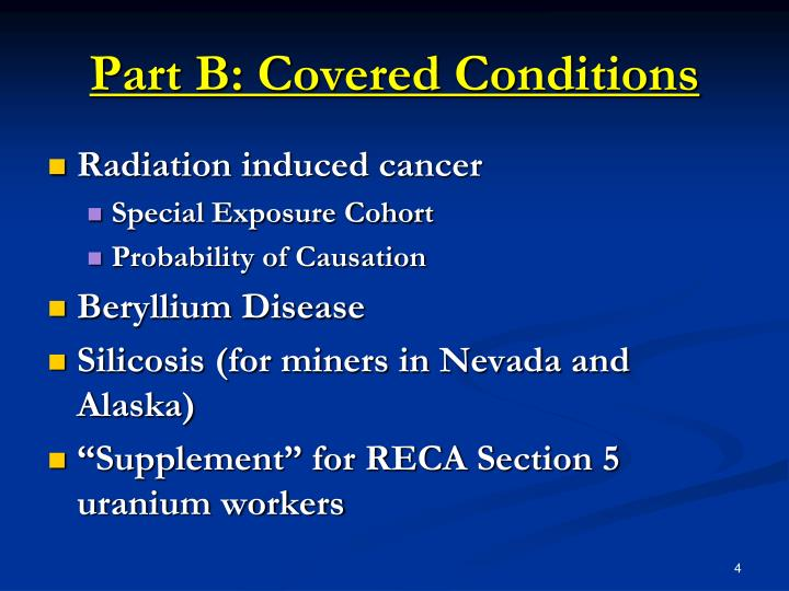 Part B: Covered Conditions