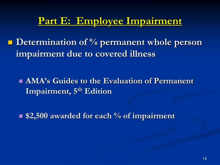 Part E:  Employee Impairment
