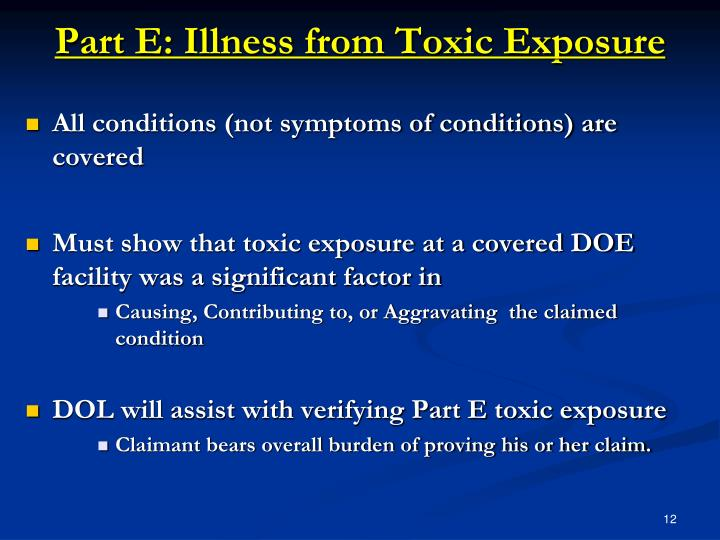Part E: Illness from Toxic Exposure