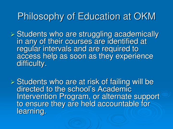 Philosophy of Education at OKM