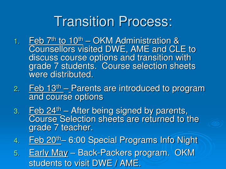 Transition Process: