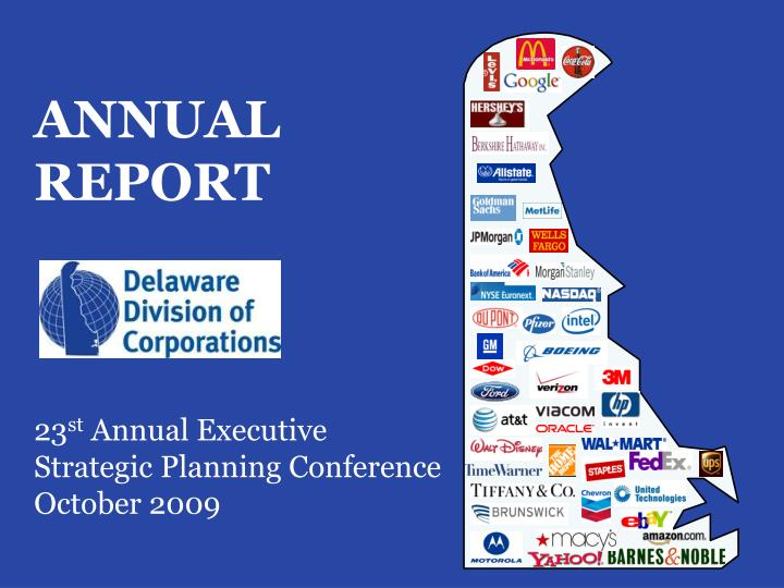 Annual report 23 st annual executive strategic planning conference october 2009