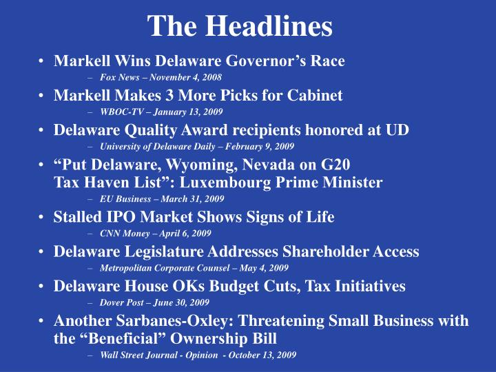 The headlines