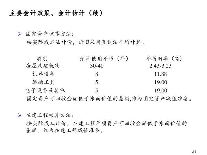 主要会计政策、会计估计(续)