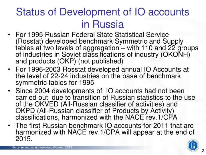 Status of development of io accounts in russia