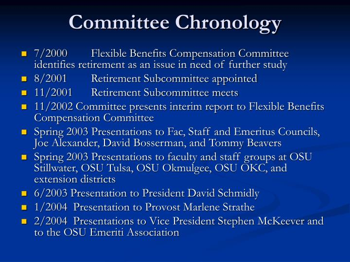 Committee Chronology