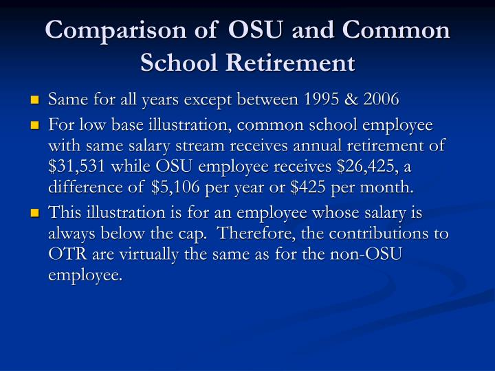 Comparison of OSU and Common School Retirement