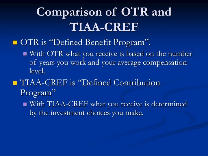 Comparison of OTR and