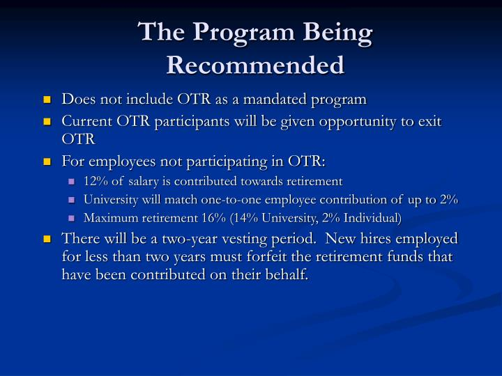 The Program Being Recommended