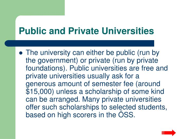 Public and Private Universities
