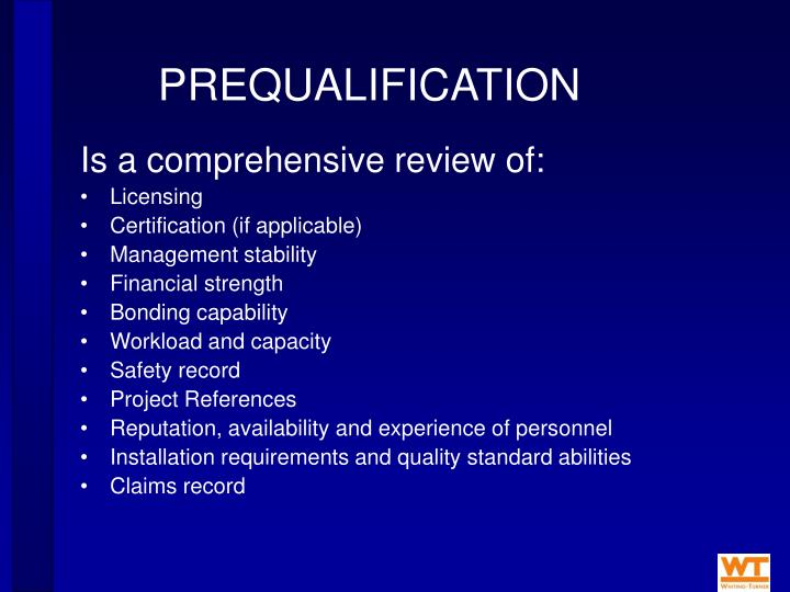 PREQUALIFICATION