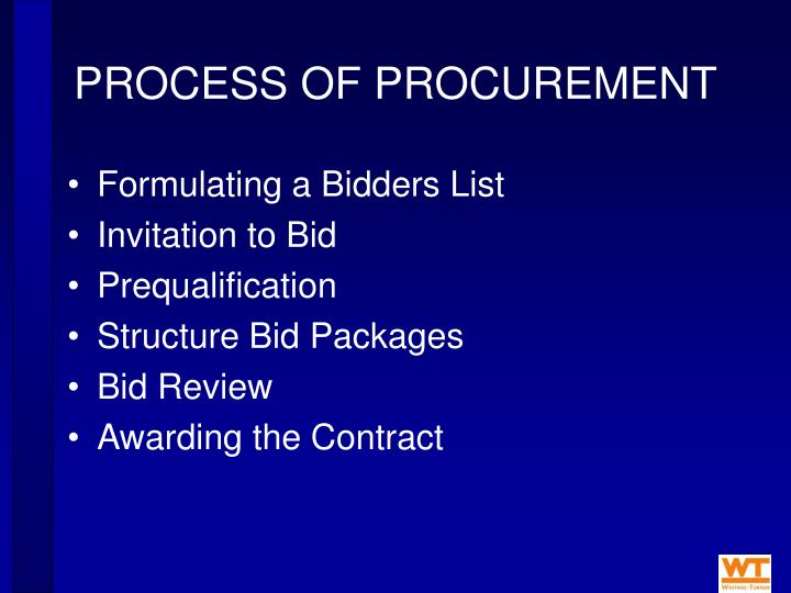 PROCESS OF PROCUREMENT