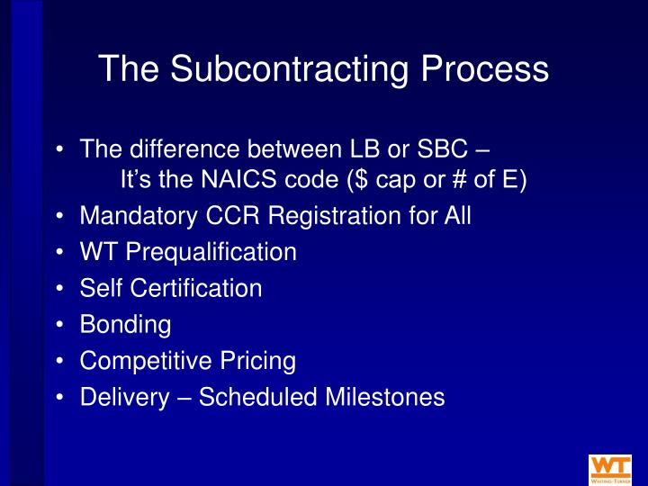 The Subcontracting Process