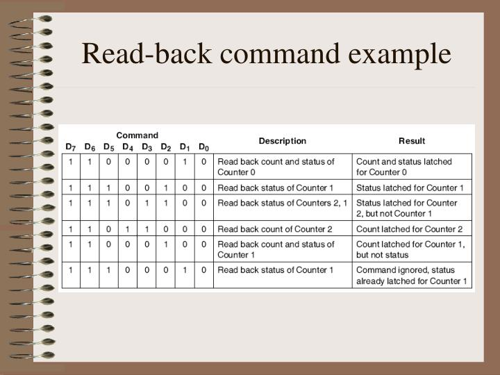 Read-back command example