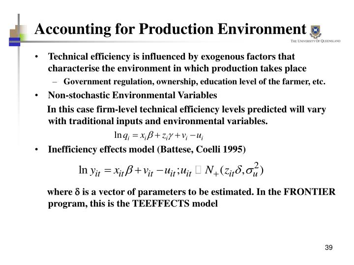 Accounting for Production Environment