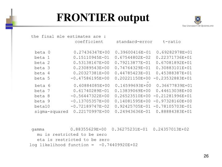 FRONTIER output