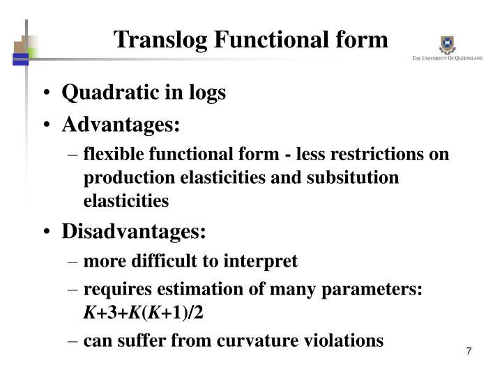 Translog Functional form