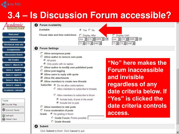 3.4 – Is Discussion Forum accessible?