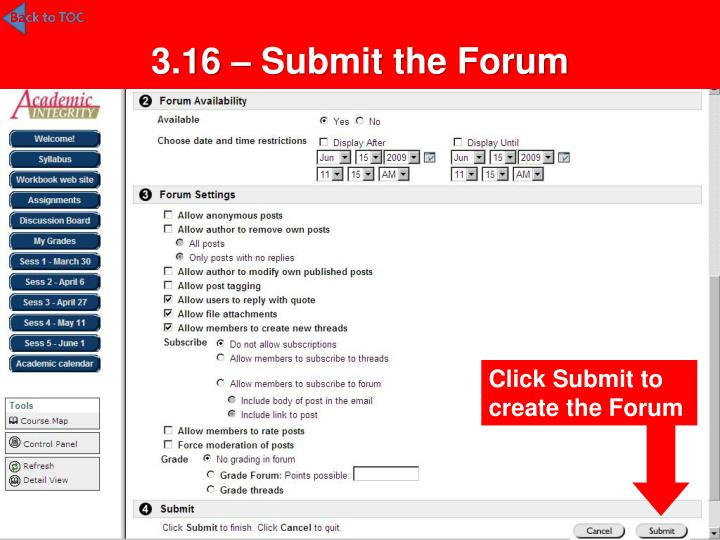 3.16 – Submit the Forum