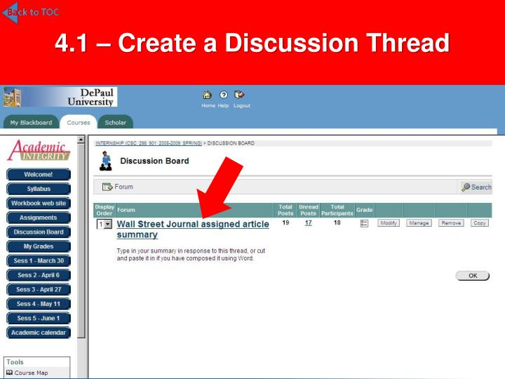 4.1 – Create a Discussion Thread